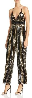 Bardot Goldie Sequin-Stripe Jumpsuit