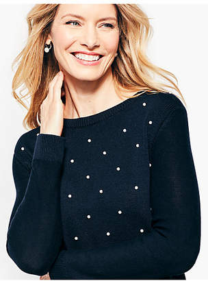 Talbots Cotton & Tencel Pearl-Embellished Sweater