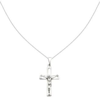 Generic 14k White Gold Crucifix Pendant w/ 18in chain