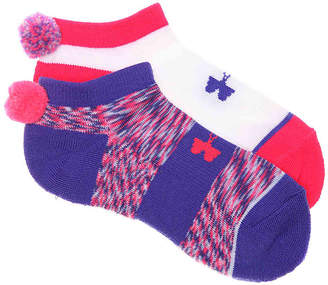 Under Armour Pom Youth No Show Socks - 2 Pack - Girl's