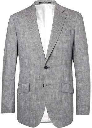 Richard James Navy Seishin Prince Of Wales Checked Slub Linen-Blend Suit Jacket