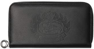 Burberry Embossed Crest Two-tone Leather Ziparound Wallet