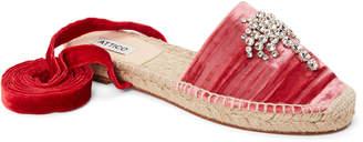 ATTICO Pink Mali Embellished Velvet Ankle-Wrap Espadrilles