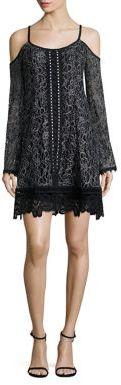Nanette Lepore Blackjack Lace Cold-Shoulder Dress $498 thestylecure.com