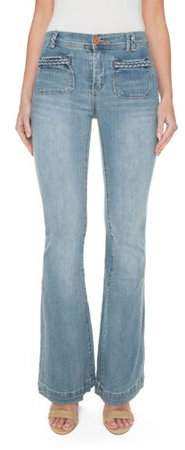 Ditto s Juniors' Joanna High-Rise Super Soft Braided Pocket Flare Jean