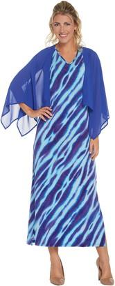 Bob Mackie Bob Mackie's Animal Print Maxi Dress with Solid Woven Shrug