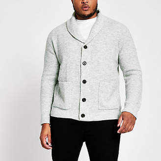 River Island Big and Tall grey knit shawl collar cardigan