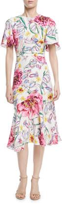 Prabal Gurung Round-Neck Short-Sleeve Floral-Print Dress
