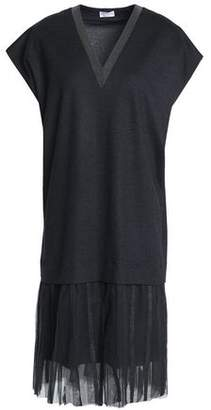 Brunello Cucinelli Bead-Embellished Tulle-Trimmed Wool And Cotton-Blend Dress