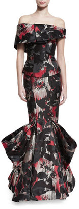 Zac Posen Off-the-Shoulder Printed Mermaid Gown, Multi Cherry Floral $5,990 thestylecure.com
