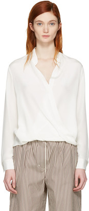 3.1 Phillip Lim White Silk Wrap Blouse $395 thestylecure.com