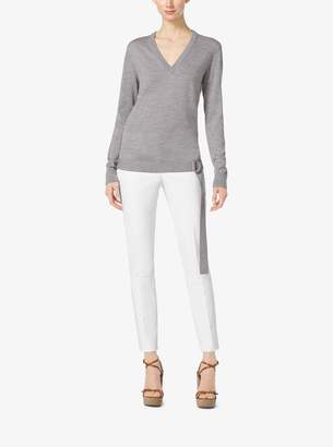 Michael Kors Belted Wool V-Neck Sweater