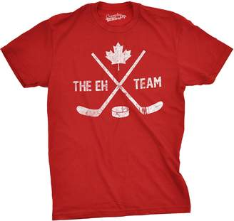 Crazy Dog T-shirts Crazy Dog Tshirts Mens The Eh Team Canadian Hockey Sticks and Puck Sporting T shirt