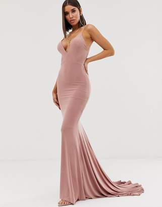 ed3cd816a4ba Club L London high strappy back fishtail maxi dress in pink