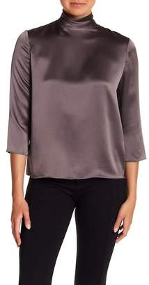 Vince Mock Neck Silk Blouse