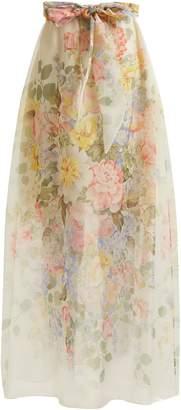 Floral-print silk skirt
