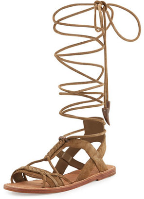 Ash Peace Suede Gladiator Sandal, Wilde Sand $255 thestylecure.com