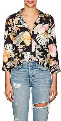 Barneys New York Women's Tropical-Floral Silk Pajama-Style Blouse