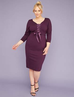 3/4-Sleeve Corset Sheath Dress