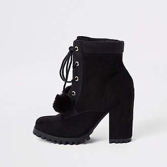 River Island Black lace-up pom pom chunky ankle boots