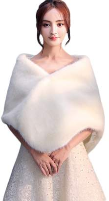 Insun Women's Faux Fur Winter Wedding Shawl for Bride Wedding Capes and Wraps Ivory