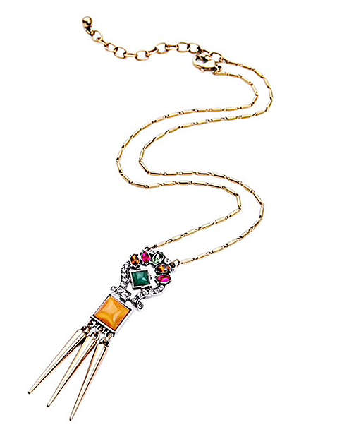 Orange Crystal & Gold-Plated Drop Necklace