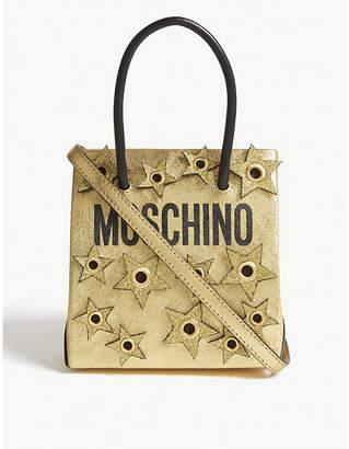 Moschino Logo star appliqué metallic tote
