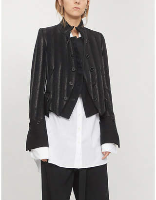Ann Demeulemeester Double-breasted striped wool-blend jacket