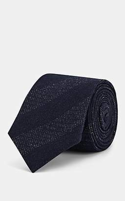Alexander Olch Men's Mélange-Striped Cotton Necktie - Navy