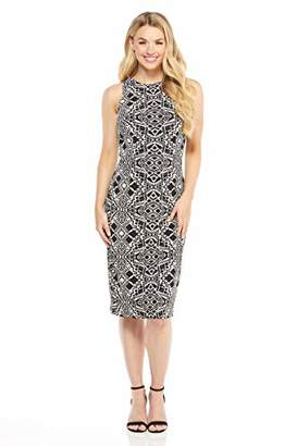 London Times Women's Sleeveless Round Neck MIDI Sheath Dress