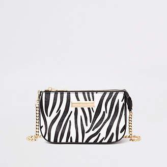 River Island Black zebra print mini chain shoulder bag