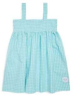Little Girl's & Girl's Aqua Seersucker Gingham Swing Cotton Dress
