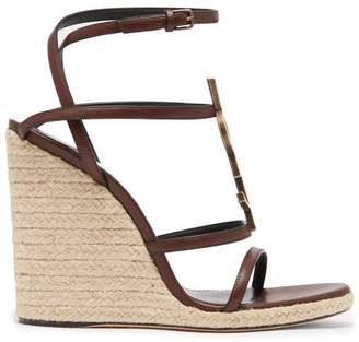 Saint Laurent Logo Plaque Espadrille Wedge Sandals - Womens - Dark Brown