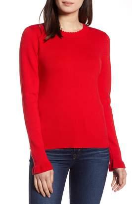 Halogen Scallop Trim Sweater