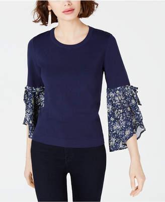 Maison Jules Contrast-Sleeve Sweater