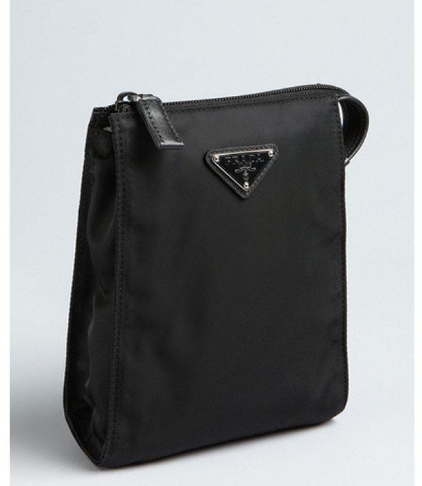 Prada black nylon small travel tall pouch