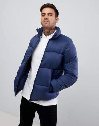 Pull&Bear Puffer Jacket In Blue
