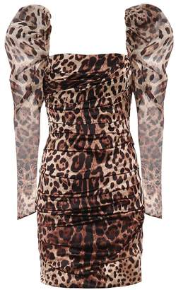 Dolce & Gabbana Leopard-print stretch-silk minidress