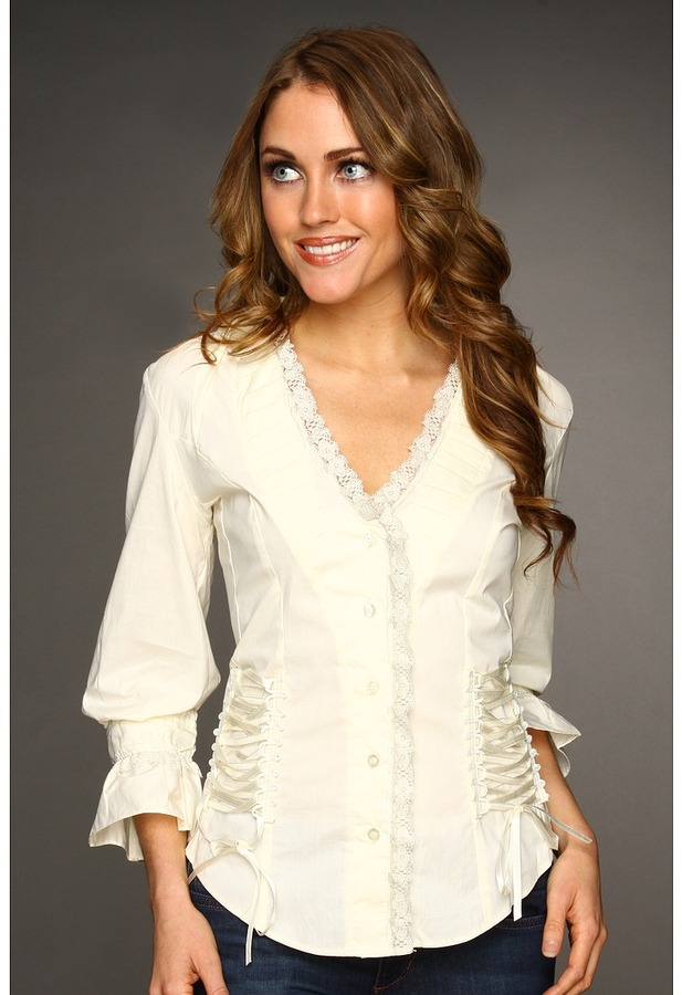 Scully Lace-Up Back Shirt (Cream) - Apparel