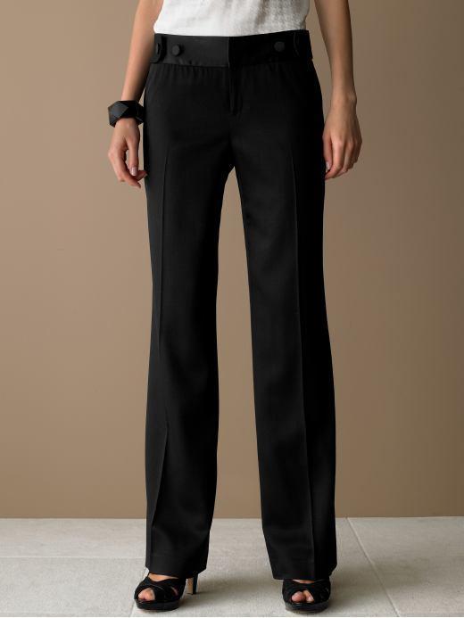 Banana Republic Petite contour jackson wide-leg satin trim pant - Black