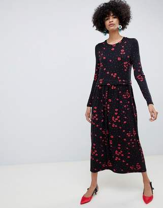 Selected floral high neck midi dress