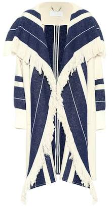 Chloé Fringed cotton and wool-blend jacket