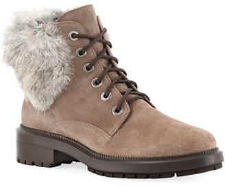 Aquatalia Lacy Suede Combat Boots w/ Fur Trim