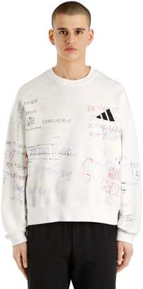 Yeezy Printed & Adidas Logo Cotton Sweatshirt
