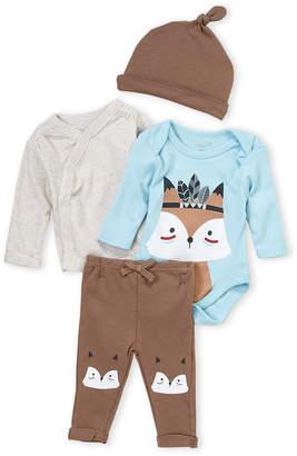 Rene Rofe Newborn Boys) 4-Piece Fox Tee & Pants Set