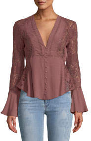 Hallie Bell-Sleeve Button-Front Lace-Trim Blouse