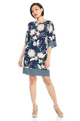 London Times Women's Petite Kimono Sleeve Matte Jersey Shift Dress