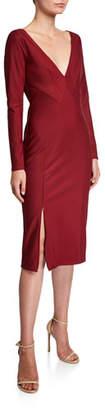 Zac Posen V-Neck Long-Sleeve Bondage Jersey Dress
