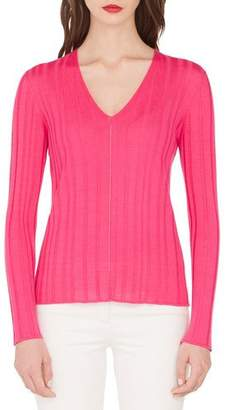 Akris Fine-Ribbed V-Neck Sweater