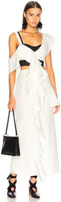 Proenza Schouler One Shoulder Long Ruffle Dress